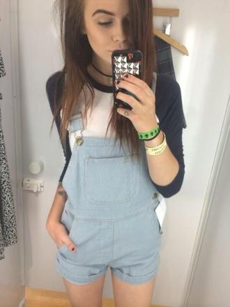 acacia brinley american apparel overalls jewels short overalls shorts jumpsuit denim overalls