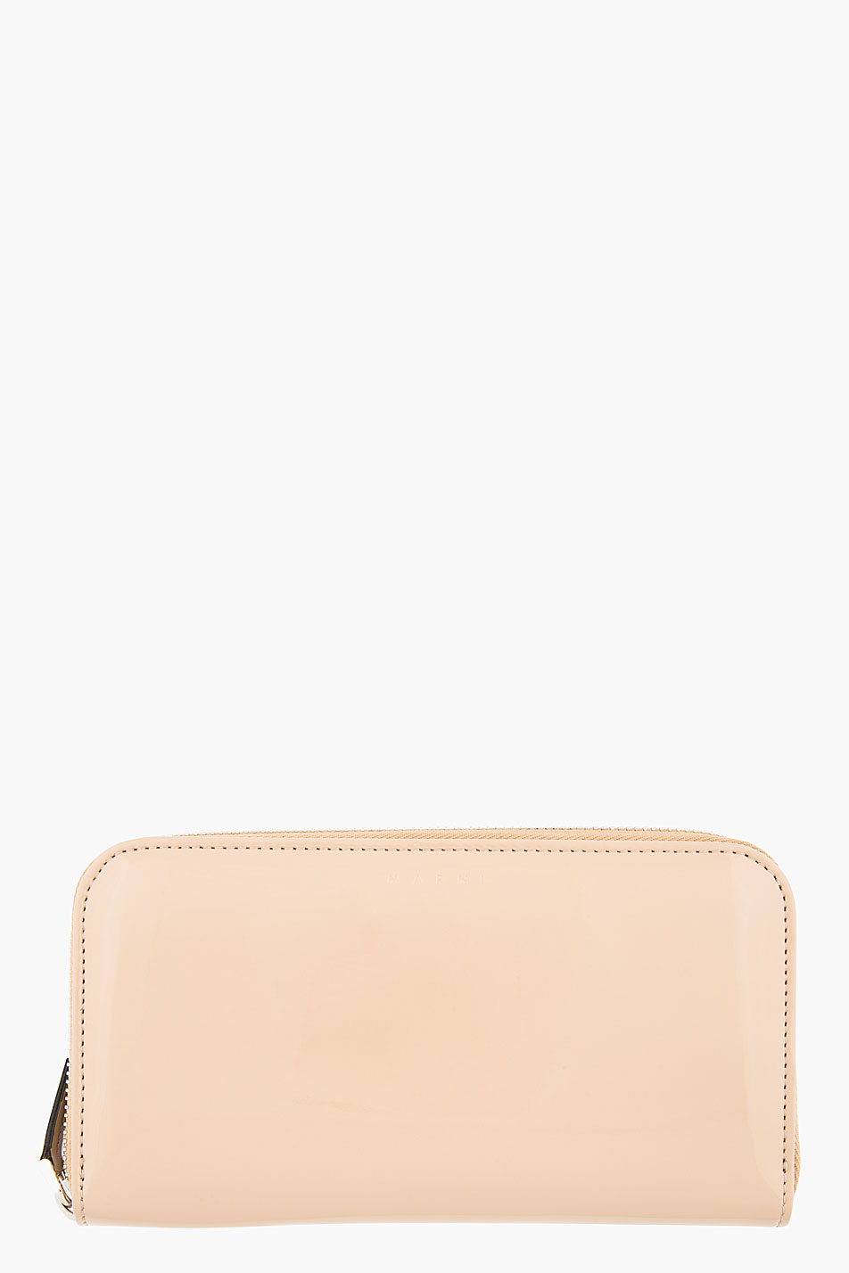 marni edition taupe patent leather minimalist continental wallet