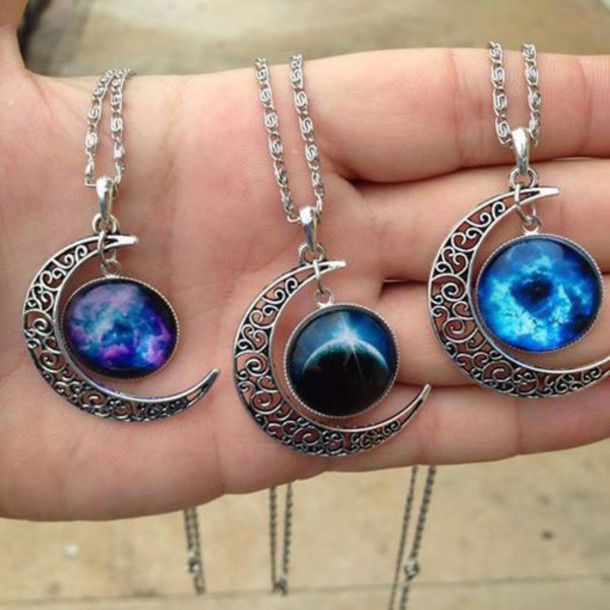 jewels space necklace moon planets jewelry grunge grunge jewelry moon necklace accessories nail accessories silver necklace silver indie colorful it girl shop boho goth hipster goth hipster bohemian
