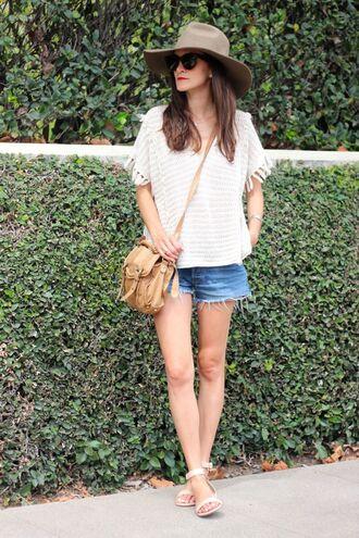 frankie hearts fashion blogger top hat shorts shoes bag sunglasses