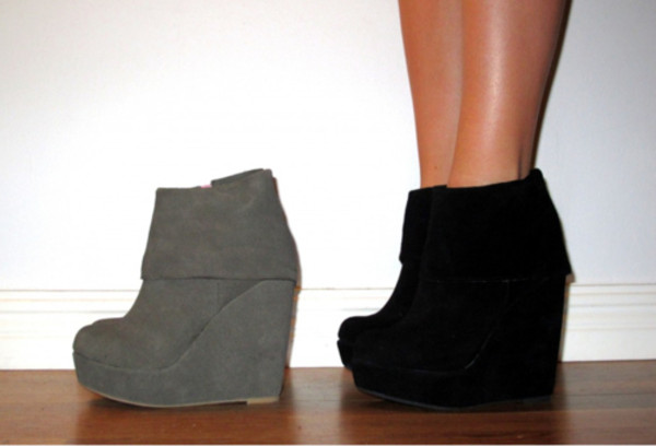 shoes boots booties black grey grey foldover wedges