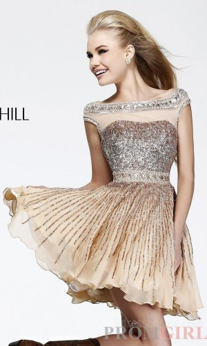 $199.99 - Cheap Short Sherri Hill 8518 Natural Dresses