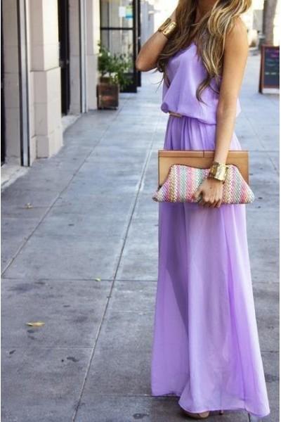 Purple Day Dress - Lavender Maxi dress | UsTrendy