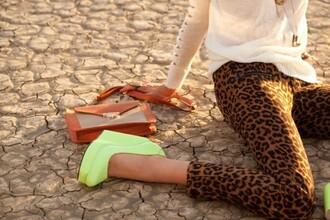 shoes yellow neon yellow heels pants wedges leopard print