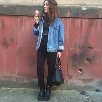 jacket denim jacket denim large grunge hipster