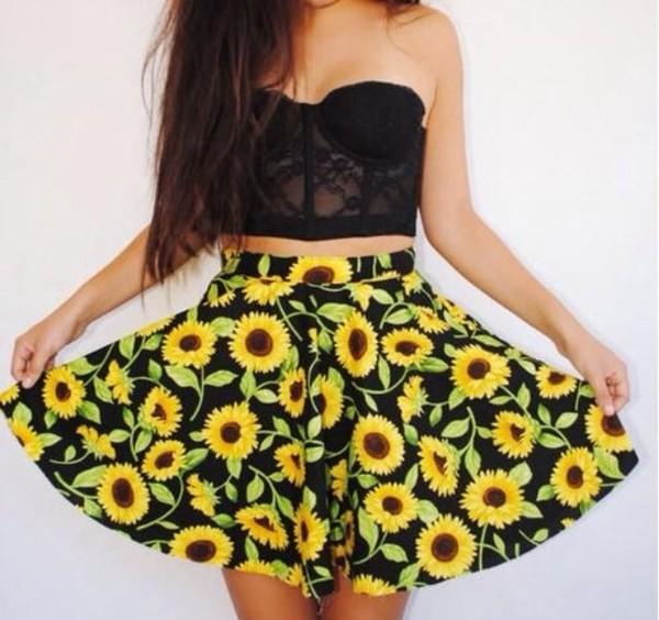 shirt corset lace bralette bralet top corset bra black skirt black skirt sunflower floral high waisted skirt