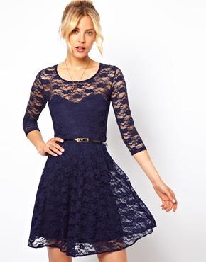 ASOS   ASOS Skater Dress in Lace With 3/4 Length Sleeves at ASOS