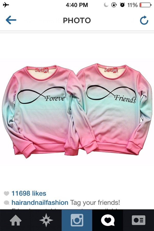 sweater forever pink blue ombre bbf