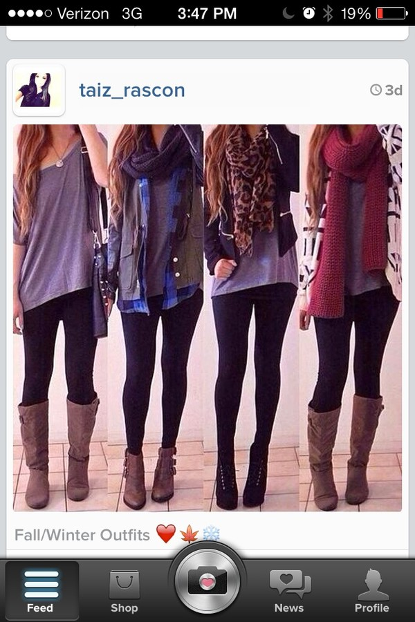 scarf shoes t-shirt