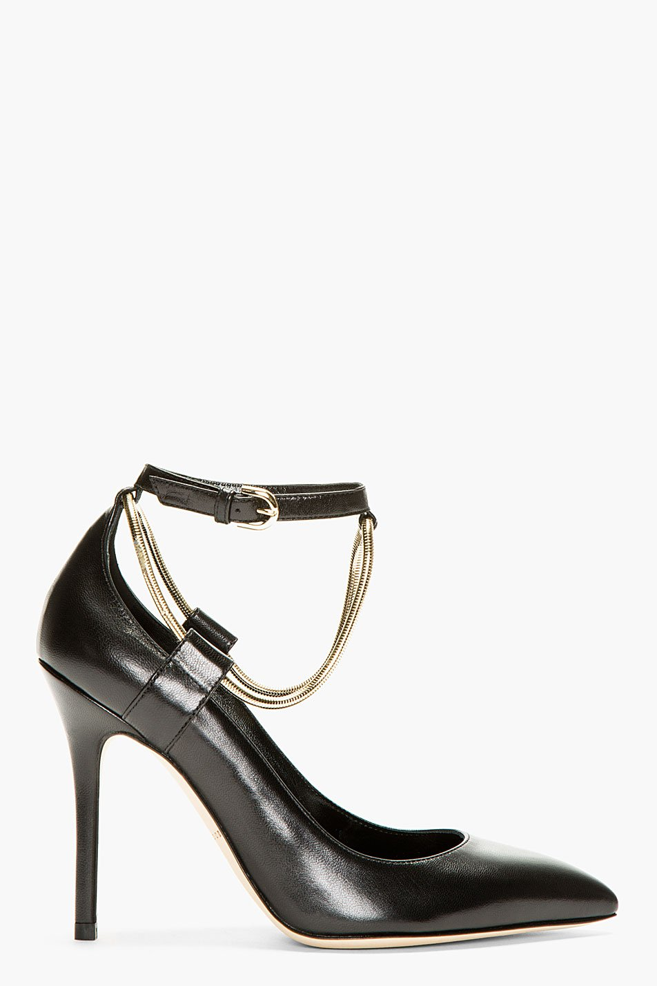 brian atwood black leather chain detail kaela pumps