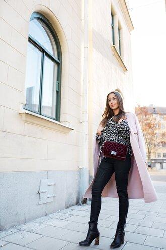 kenza blogger pants coat shoes sweater bag black skinny jeans velvet bag chanel bag pink coat winter outfits