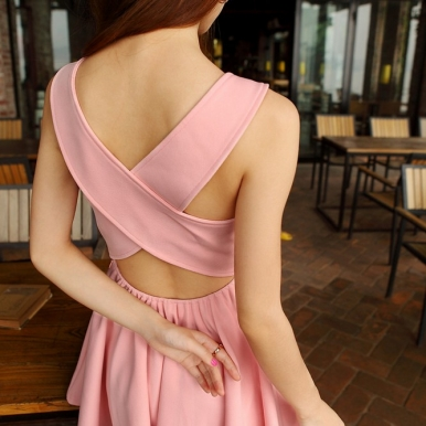 Newly Summer Cross Backless Dress Red Pink