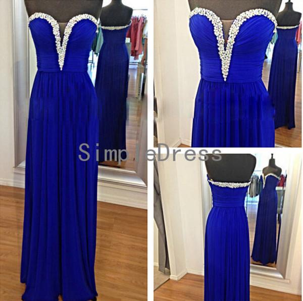 dress long evening dress long party dress long prom dress bridesmaid royal blue dress v neck dress party dress 2014 evening dress
