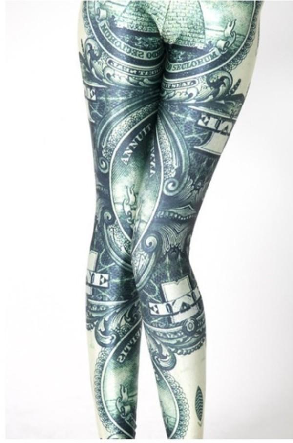 pants illuminati illu dollar american bill leggings groen green money