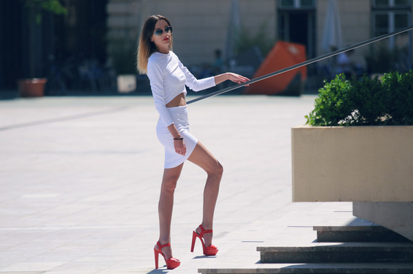 carolina krews sunglasses top skirt jacket