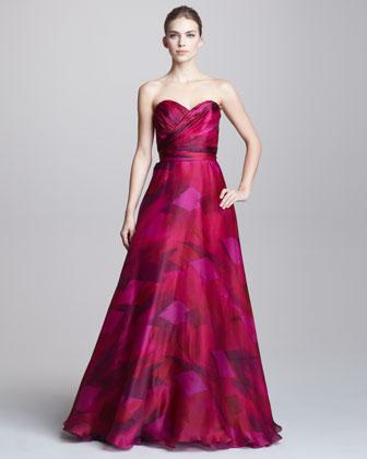 Theia Printed Sweetheart Ball Gown - Neiman Marcus