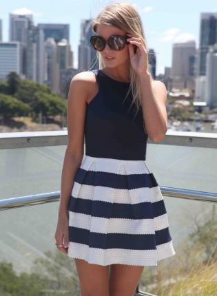 Multi Strapless Dress - Navy & White Strapless Stripe   UsTrendy