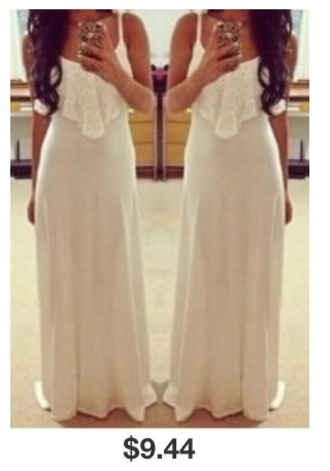 dress white maxi dress boat neck