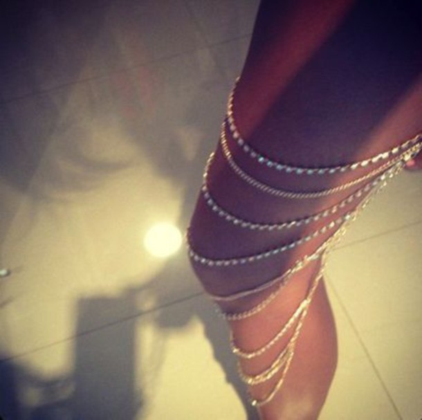 jewels leg chain gold silver diamonds