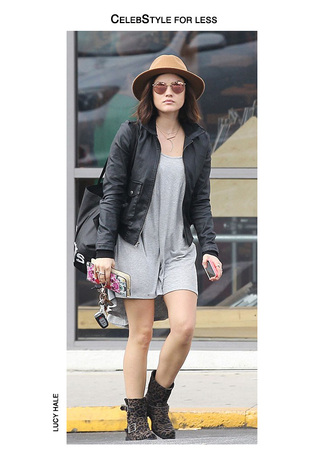 jacket leather jacket bomber jacket lucy hale celebstyle for less grey dress high-low dresses biker boots leopard print mirrored sunglasses spring outfits wallet fedora dress shoes sunglasses bag hat jewels