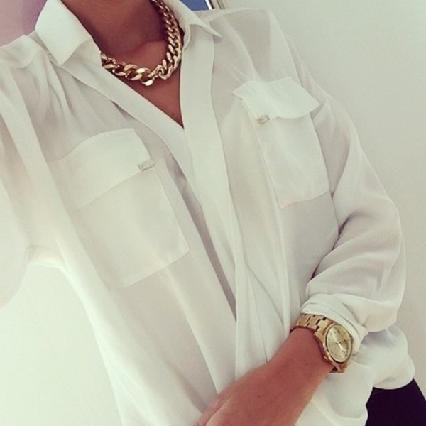 blouse white white blouse shirt white t-shirt front pockets pockets women jewels necklace gold chain white summer top pockets shirt with pockets top see through jewelry clear white shirt