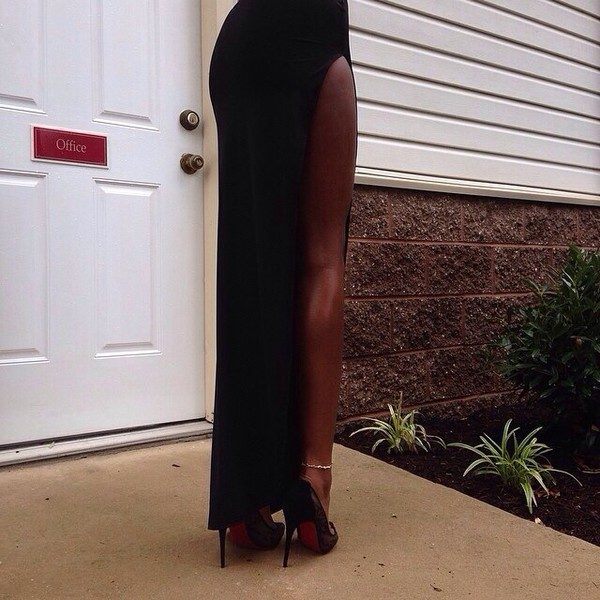 dress skirt black sexy long leg trendy stylish longskirt