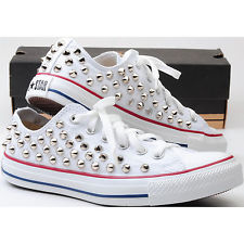 Stud Punkrock Sexy Custom Genuine White Converse ROW Silver Spike Metal Sneakers | eBay