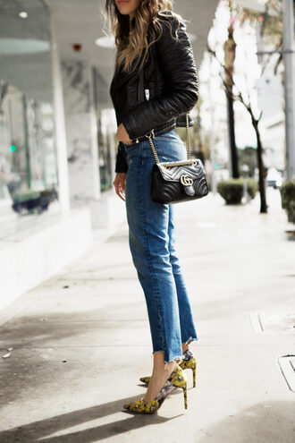 pam hetlinger the girl from panama blogger jeans shoes jacket top sunglasses bag gucci bag pumps high heel pumps