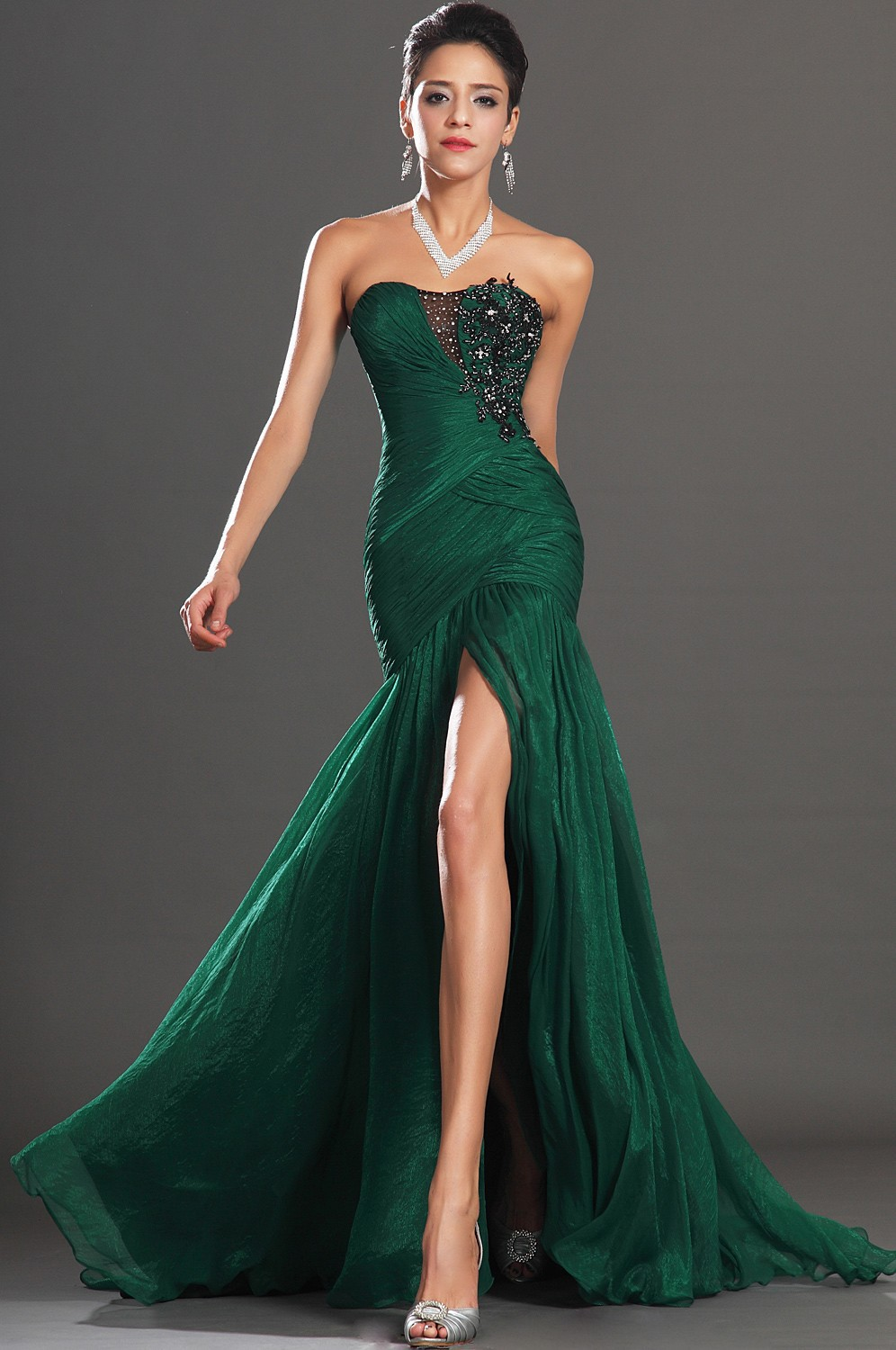 On Sale Sexy Sweetheart Appliques Front Slit Emerald Green Chiffon Mermaid Evening Dress Prom Formal Gowns 2013 New Arrival-in Evening Dresses from Apparel & Accessories on Aliexpress.com