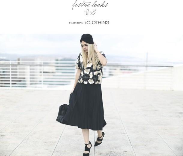 room91 blogger top turban black heels midi skirt skirt shoes bag