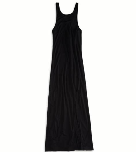AE Side Slit Maxi Tank Dress, Black   American Eagle Outfitters