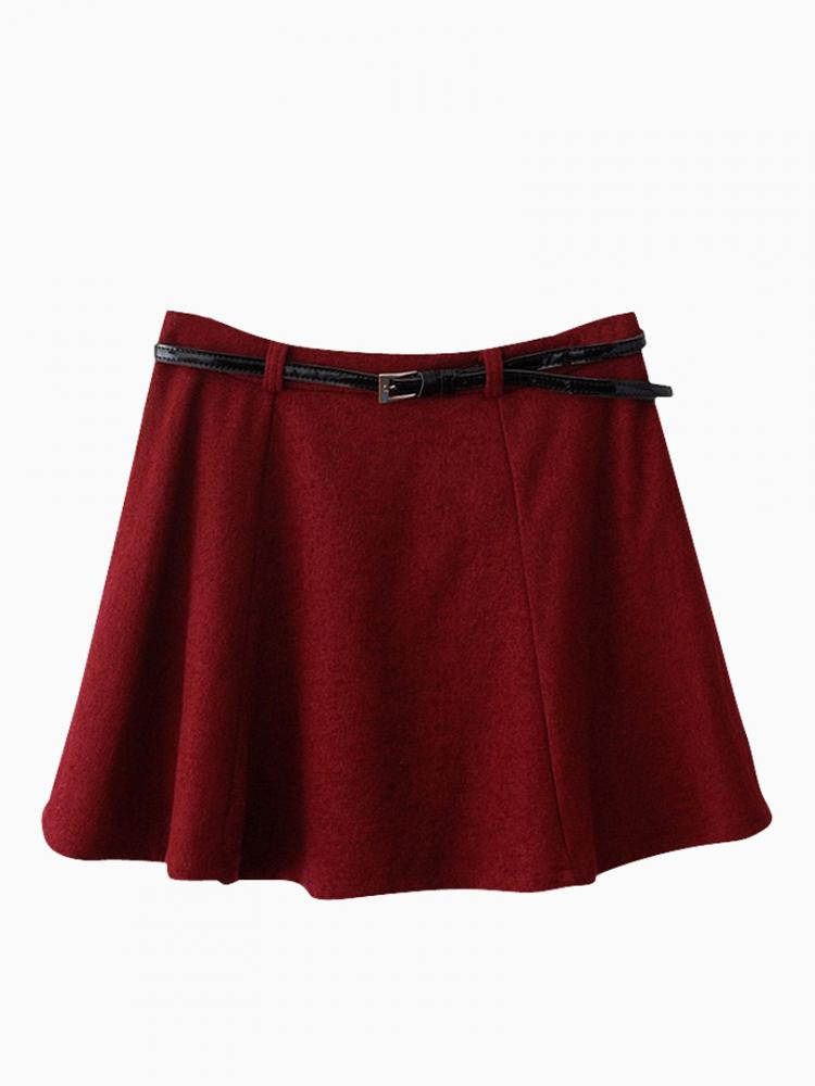 Red Skater Skirt In Wool Look | Choies