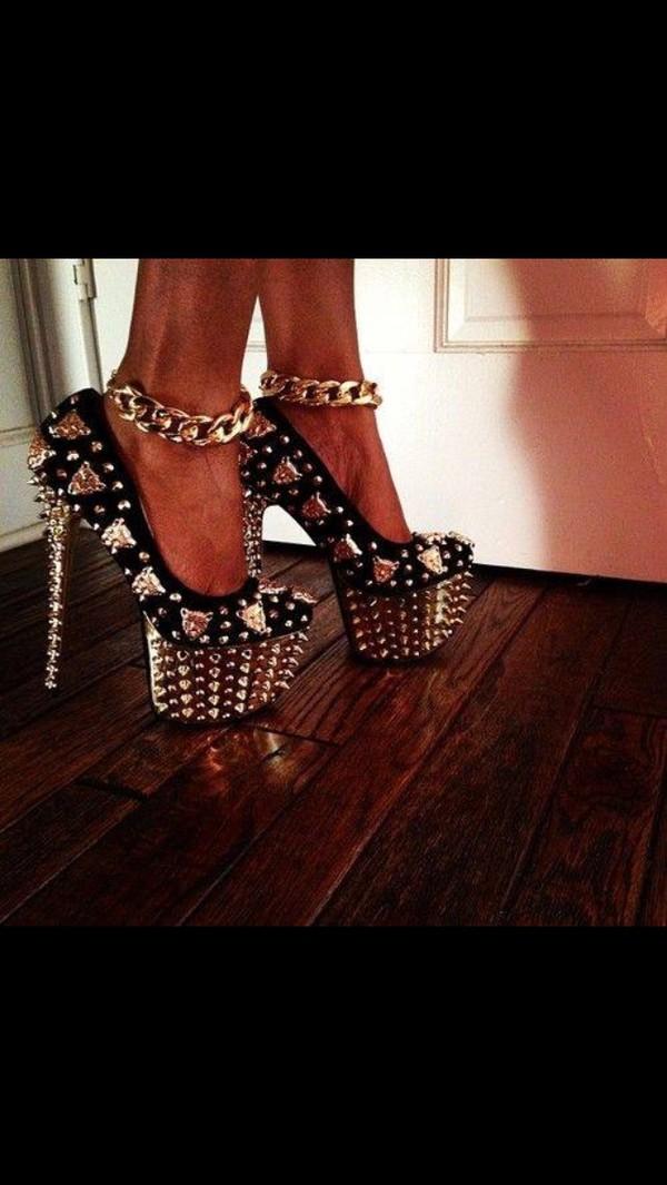 shoes silver shoes black high heels metal sparkle