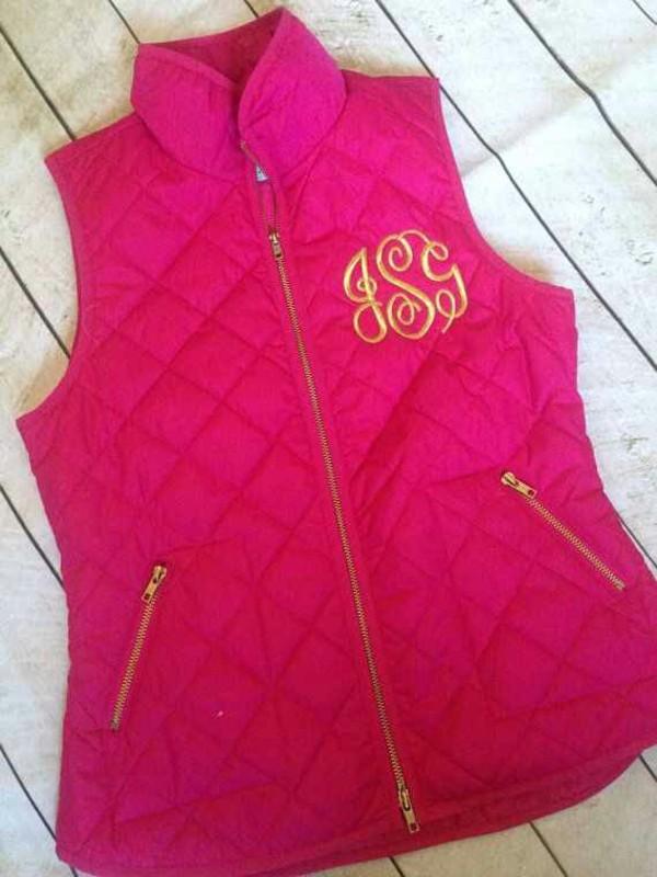 jacket pink vest momogram