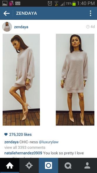 dress classy dress zendaya oversized dress shoes sweater sweater dress louboutin beige