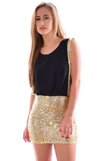 Loulou Sequin Drape Dress In Gold - Pop Couture