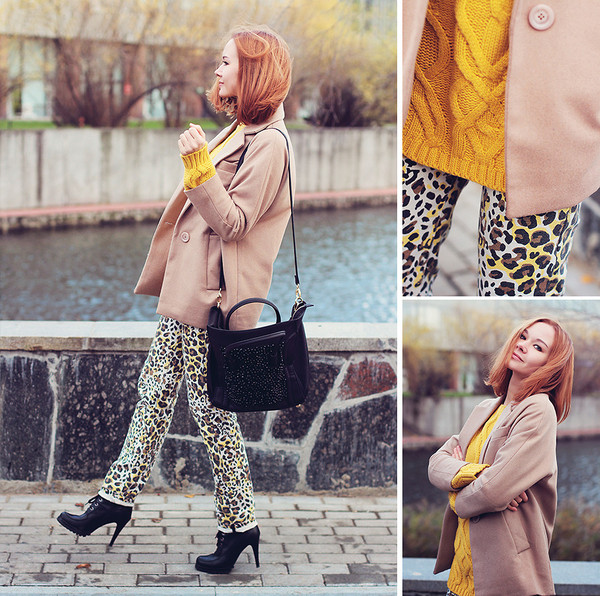 coat oversized blazer leopard print pants high heels boots shoes clothes sweater bag Choies