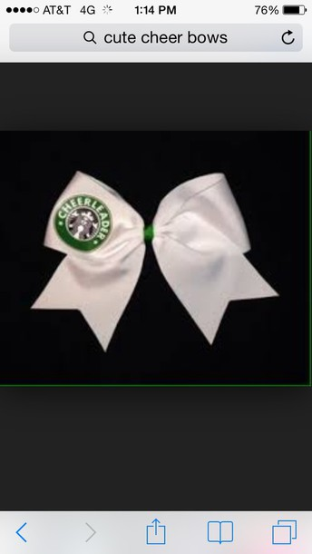 hair accessory white bow starbucks logo  in printed