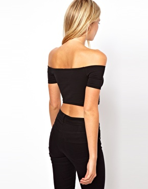 ASOS Petite | ASOS PETITE 90's Crop Top With Off the Shoulder Detail at ASOS