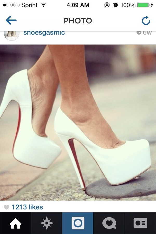 shoes white high heels red bottoms
