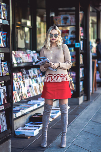 late afternoon blogger sweater skirt shoes sunglasses bag jewels red skirt boots thigh high boots grey boots shoulder bag winter outfits
