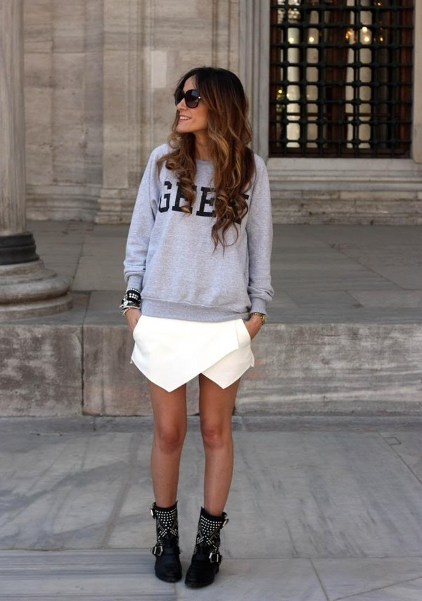 rebel attitude skirt sweater shoes jewels
