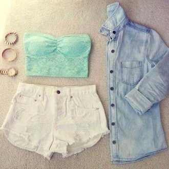 tank top shorts blouse jewels denim shirt coat jacket cute outfits dress lace light blue lace top high waisted shorts denim jacket shirt bandeau mint white denim cute summer outfit blue shirt jeans sweater shorts. baby blue strapless top chambray shirt white shorts top pastel blue brallete top boho crop tops