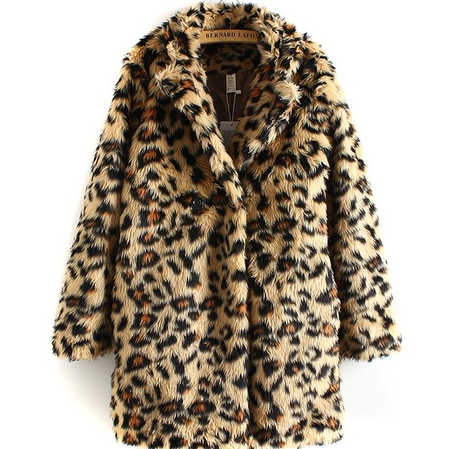 Newly High Quality Sexy Leopard Wool Wind Coat