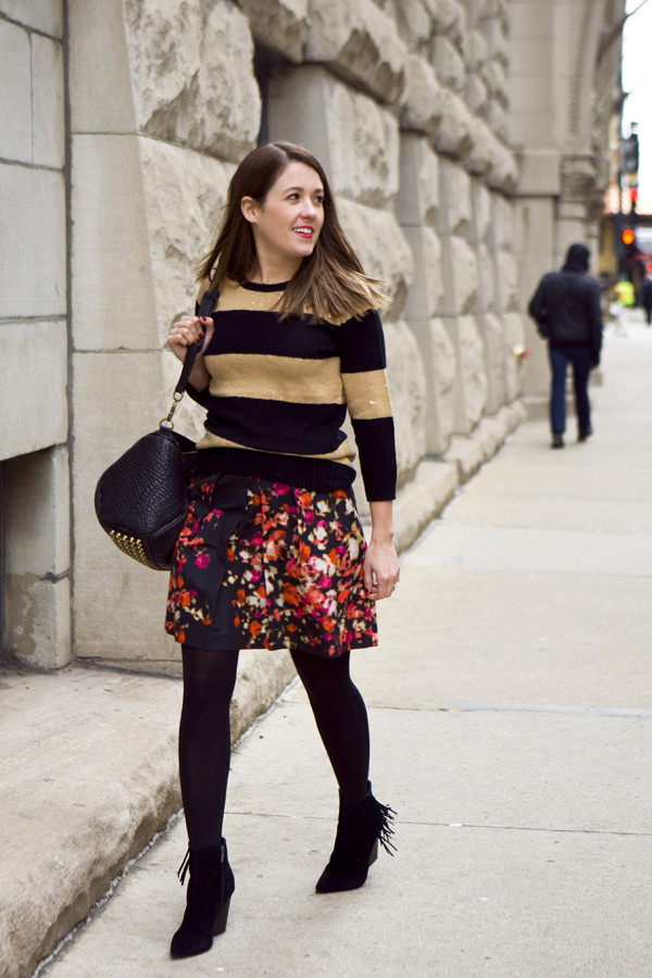 sequins and stripes sweater skirt shoes bag