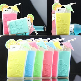 New Arrival Pink Summer Drink 3D Cocktail Cup Case For iphone 4 4s 5 5s Secret Beverage Silicone Cover Free shipping-in Phone Bags & Cases from Electronics on Aliexpress.com