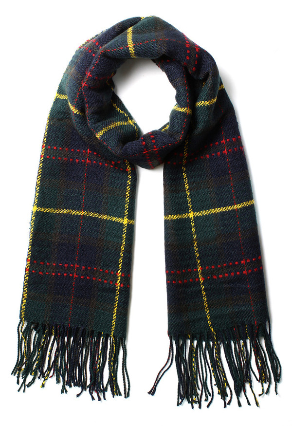 scarf scotland check fringes green