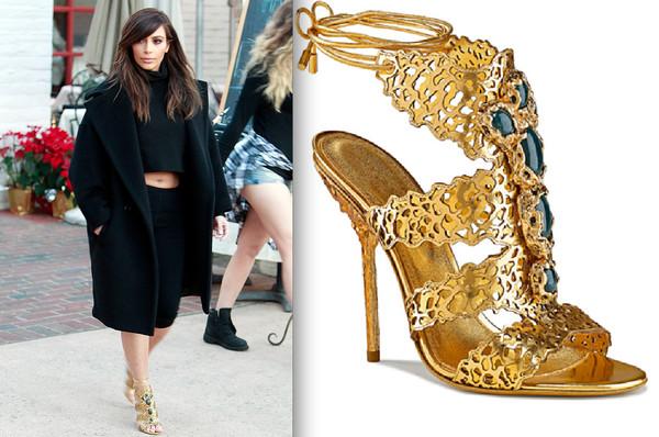 shoes keeping up with the kardashians kim kardashian gold high heels