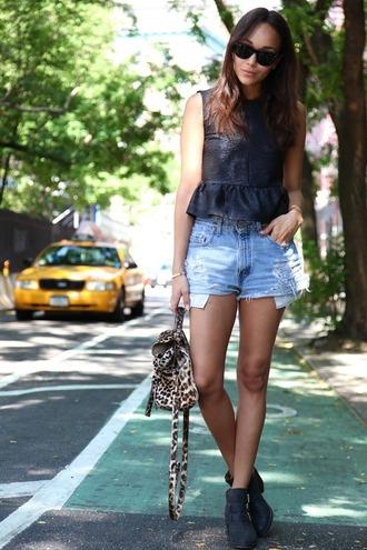 love shorts sunglasses summer denim wild taxi tan