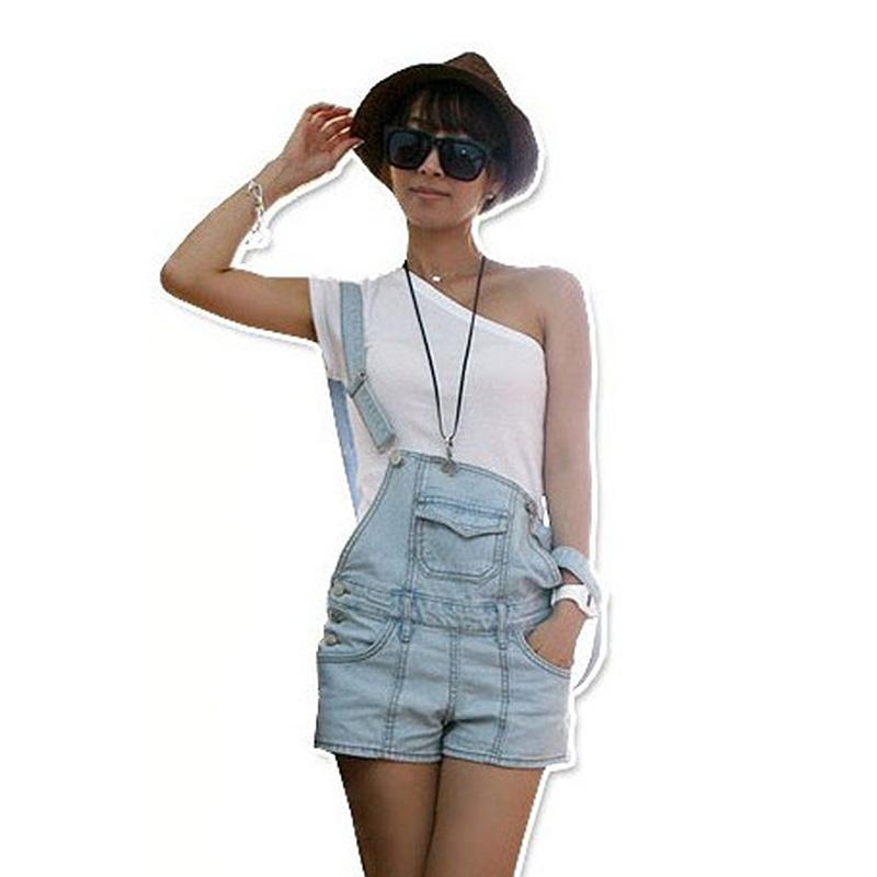 Hot Fashion Lady's Overalls Denim Shorts Jumpsuit Bib Pants Pockets Strap Jeans | eBay